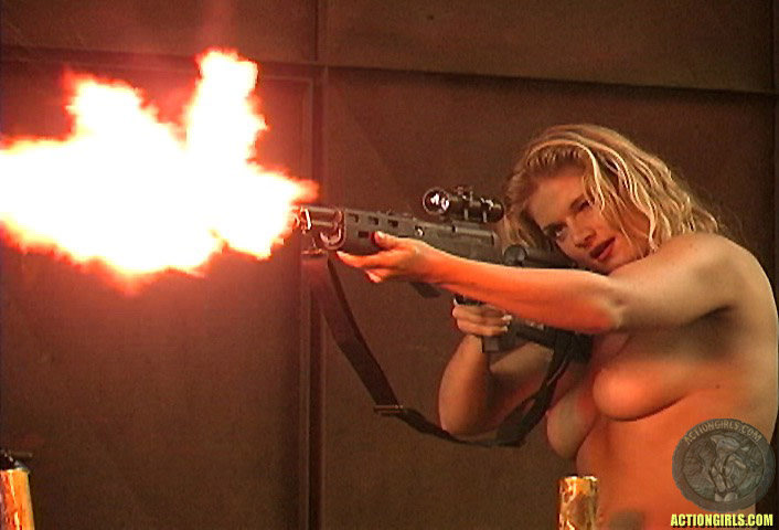 Gun women breasts naked with large