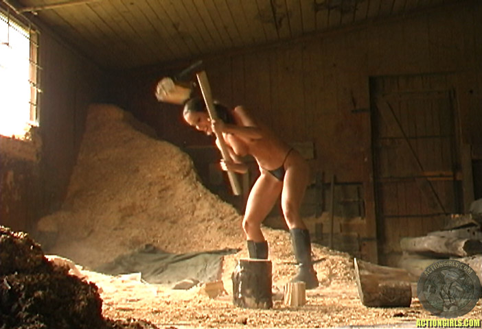 Consider, that Nude girls chopping wood